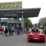 Entering the Ferrari factory gates
