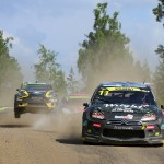 Former World Rally Champion Petter Solberg leads the race