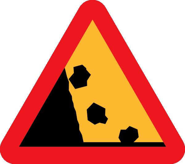 Falling Rocks Road Sign